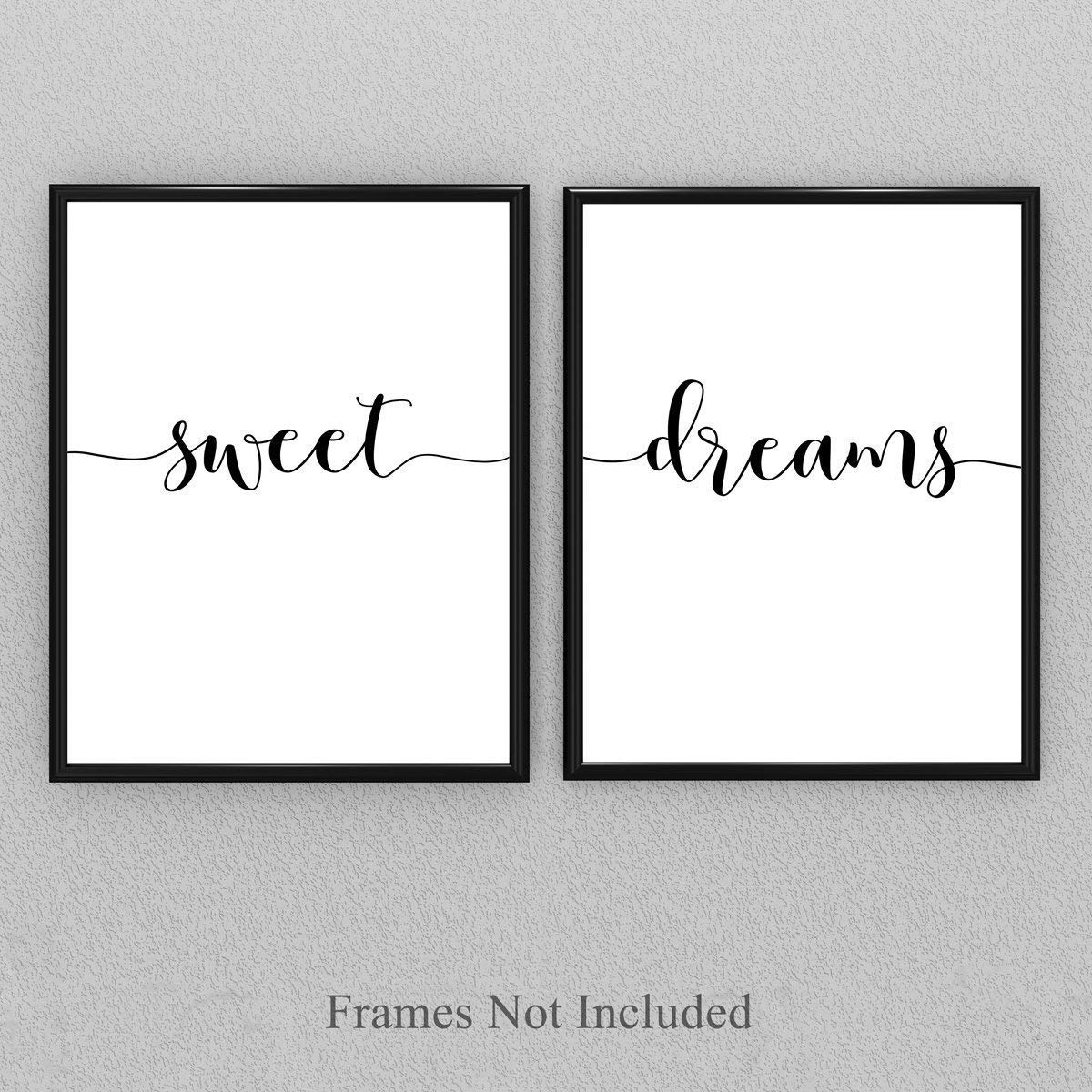 Sweet Dreams - Set of Two 11x14 Unframed Typography Art Prints - Great Gift for Bedroom Decor
