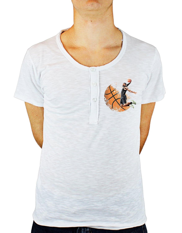 Tshirt con Bottoni Uomo in Cotone Fiammato Basket - Pallacanestro - canestro - Sport - Allenamento - Tutte Le Taglie by Tshirt con Bottoni Uomo in Cotone fiammatoeria t-shirteria