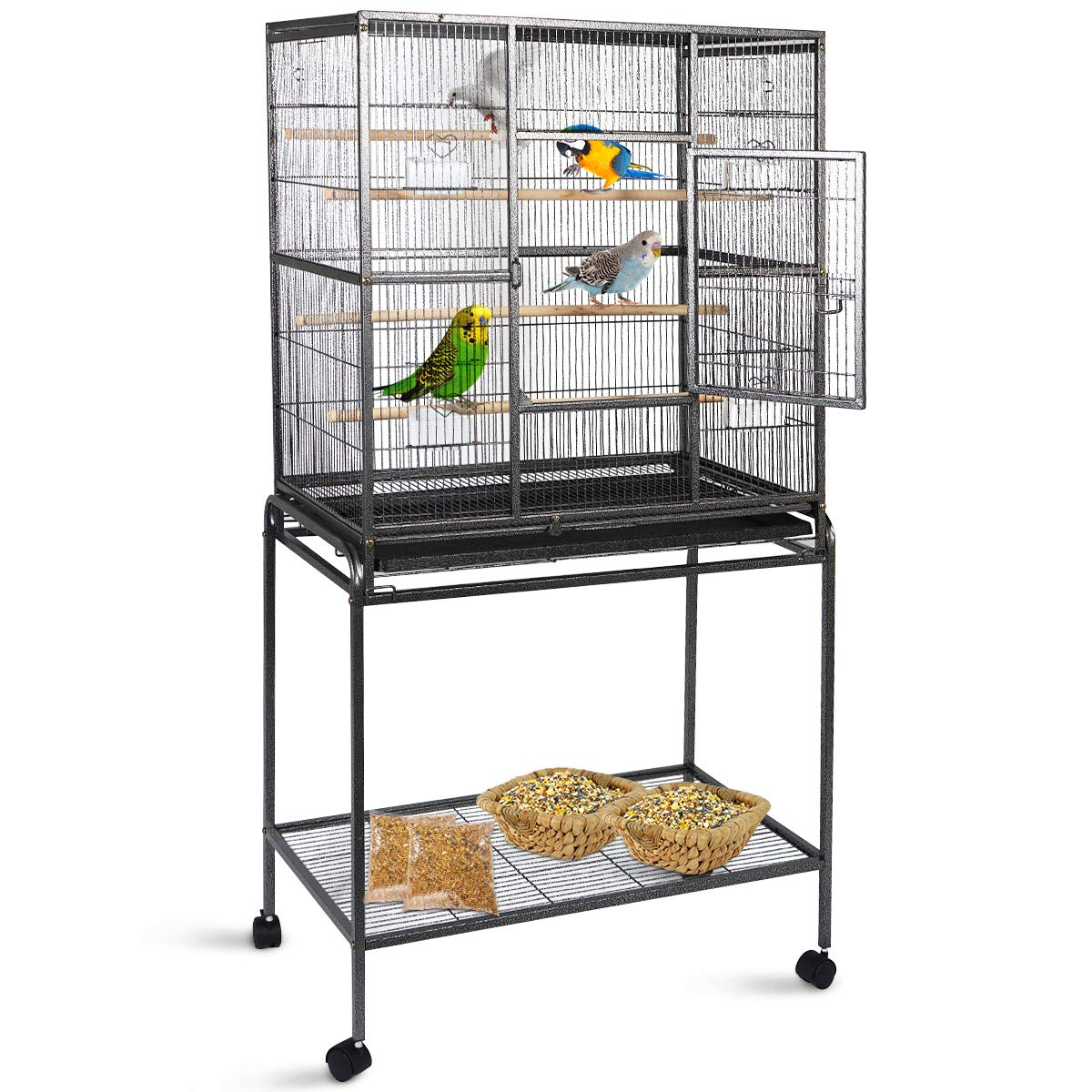 Gaintex 63'' Rolling Bird Cage with Stand & Storage Shelf Large Wrought Iron Cage for Cockatiel Conure Parakeet Lovebird Canary Finch Budgie Pet House 4 Feeding Doors and Cups by Giantex