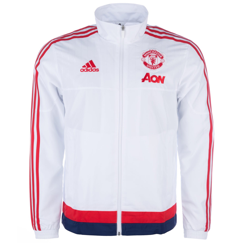 White adidas Mens Manchester United FC Presentation Jacket