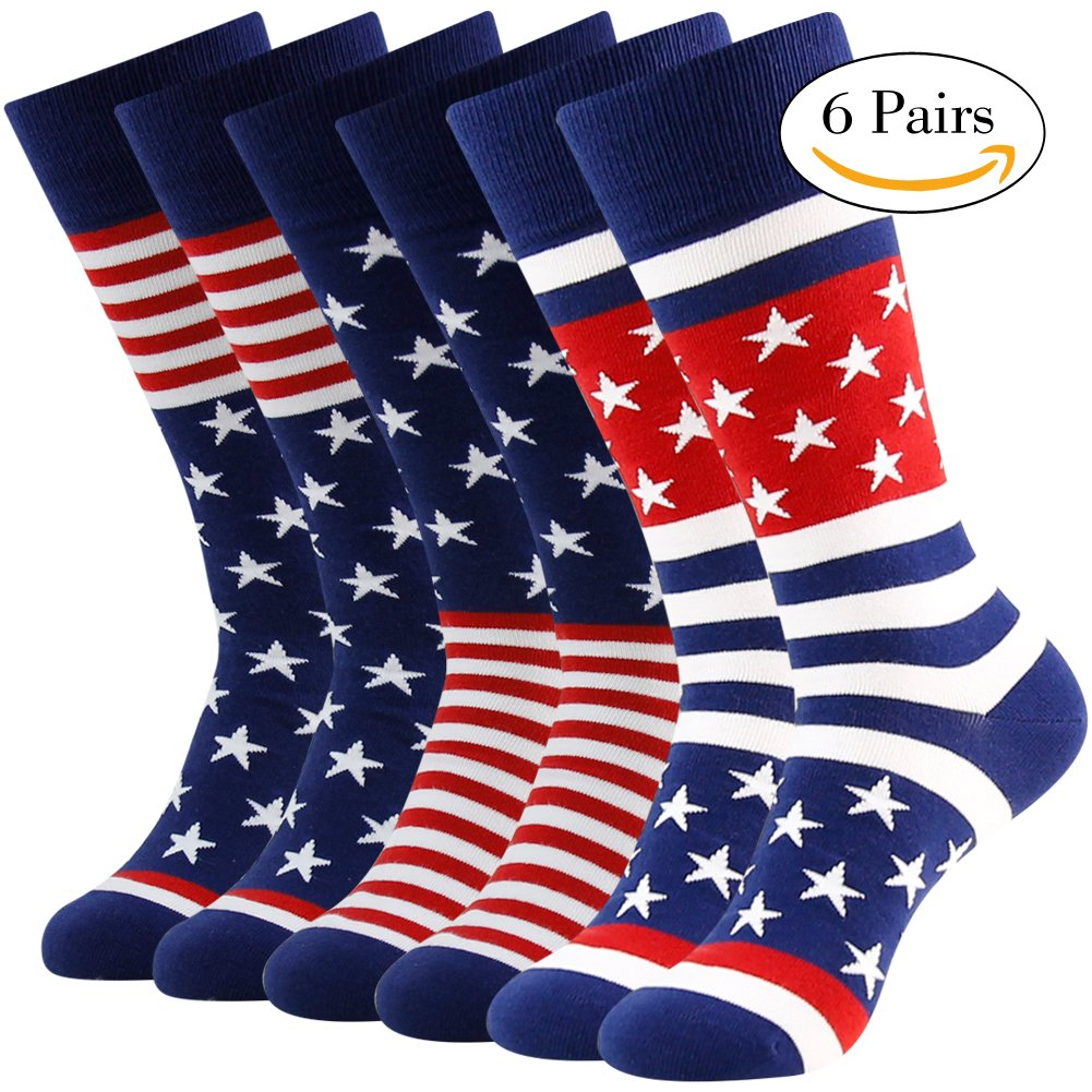 Business Gift Socks, LANDUNCIAGA Men Crew Classic Patriotic American Flag Socks Stars Stripe Design Funny Novelty Cotton Crew Bridegroom Groomsmen Socks Mid Calf,6 Pairs