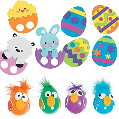 Foam Easter Egg and Friends Decorating Craft Kits - Including 3 Kits, Each Kit make 12: Toys & Games
