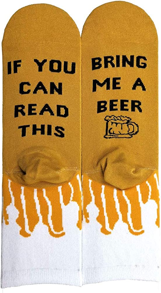 If You Can Read This Novelty Socks Bring Me PIZZA Coffee Beer Wine Socks Great Christmas Gift for Women Men