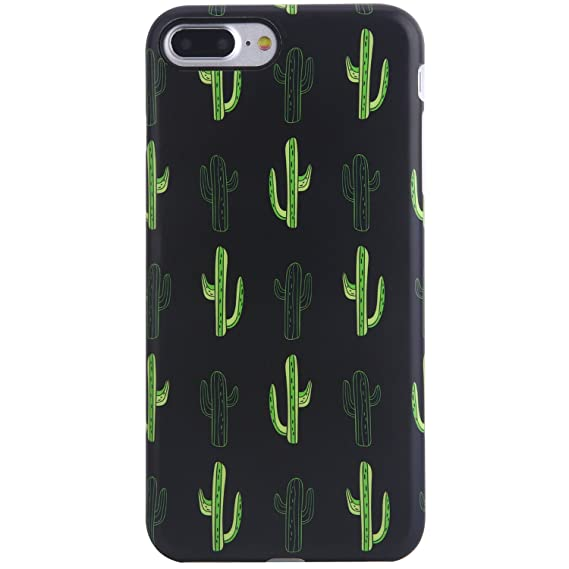 new arrival 9673f 77f86 iPhone 7 Plus Case, iPhone 8 Plus Case,VIVIBIN Cute Black Green Cactus for  Men Women Girls,Clear Bumper Soft Silicone Rubber Matte TPU Best Protective  ...