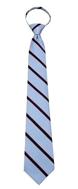 BuyYourTies ZIP-12621 - Corbata para hombre con cremallera azul ...