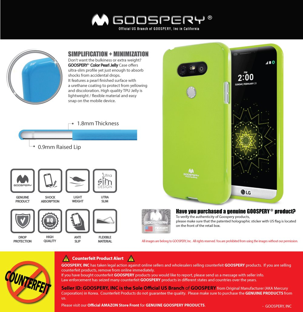 Lg G5 Case Ultra Slim Fit Goospery Pearl Jelly All Type Special  Yellow Glitter Premium Tpu Cover Anti Yellowing Discoloring Finish For