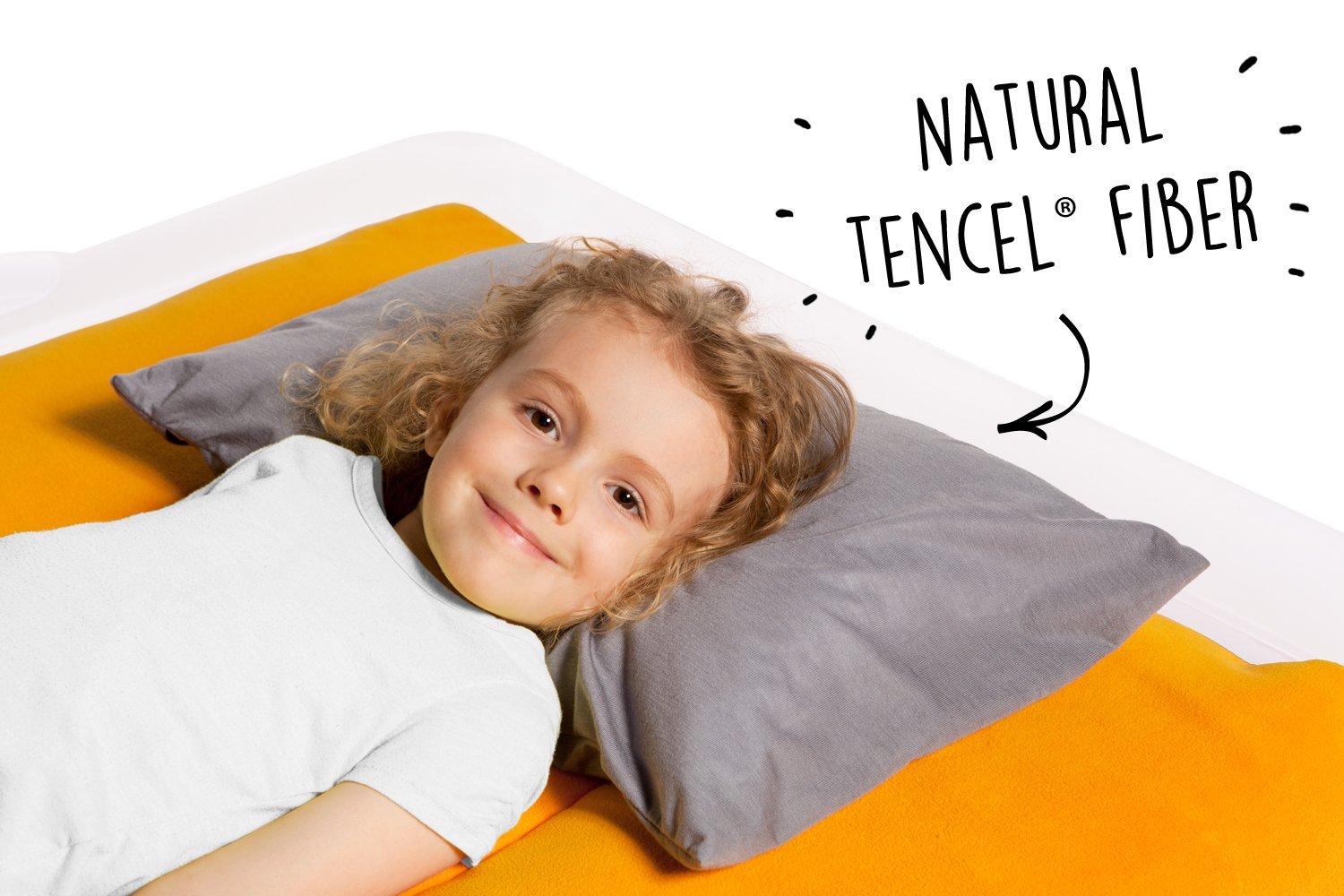 The Shrunks Natural Fibre - Water-proof Toddler Pillow and Cover, Grey by The Shrunks (Image #2)