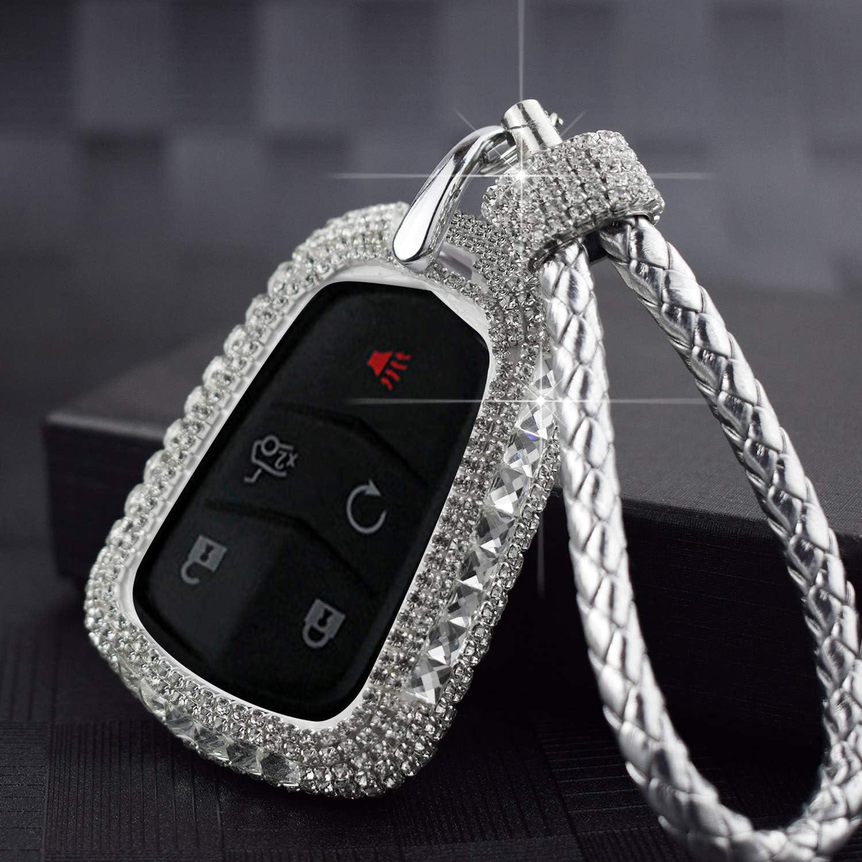 PGONE Car Key Case Key Shell Fob Key Cover Key Chain Lady Key Ring with Bling Diamond Crystals for Cadillac ATSL XT5 CT6 XTS XT4 ATS