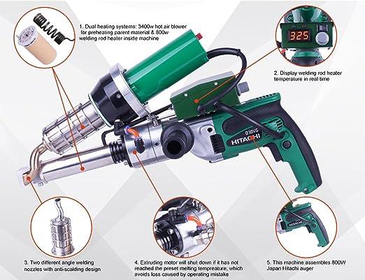 Lesite Handheld Plastic Welding Extruder Extrusion Gun For Hdpe Pp Pvdf Lst600b Amazon Com