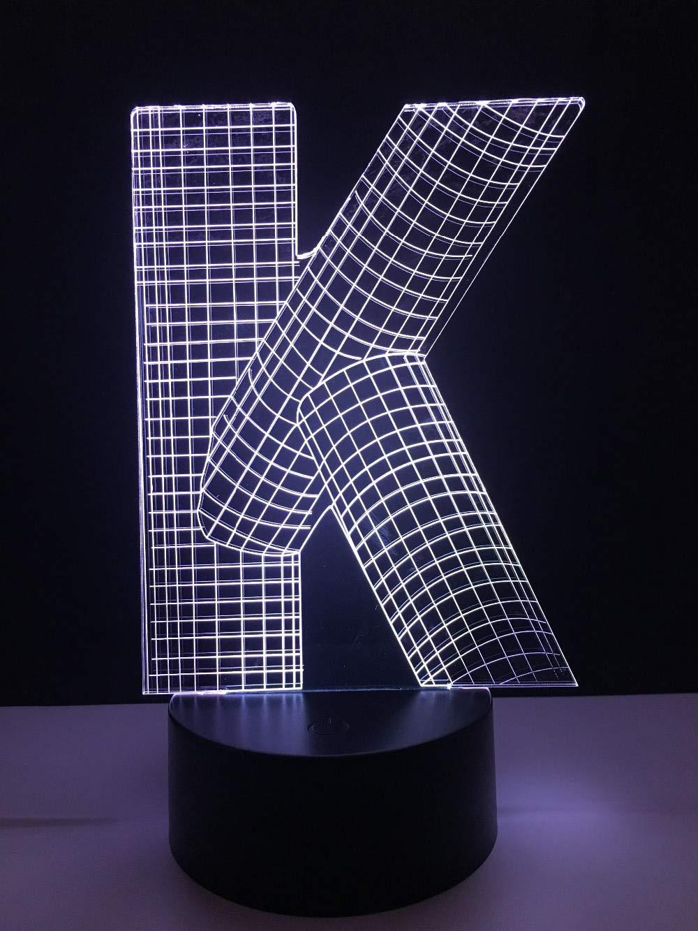 ziweipp Amroe Lámpara 3D Letra del Alfabeto K 7 Cambio de Color ...