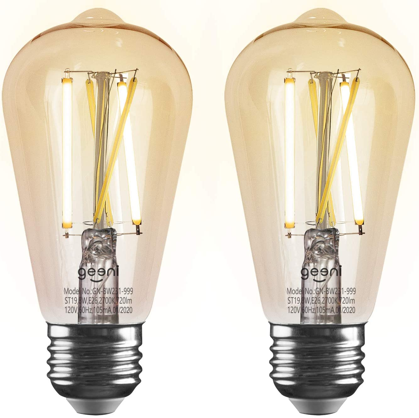 Geeni LUX Amber ST19 Edison WiFi LED Smart Bulb, 2700K - 6500K 8W, E26 Base, Dimmable, Tunable White Light, Compatible with Amazon Alexa & Google Home - No Hub Required- 2 Pack