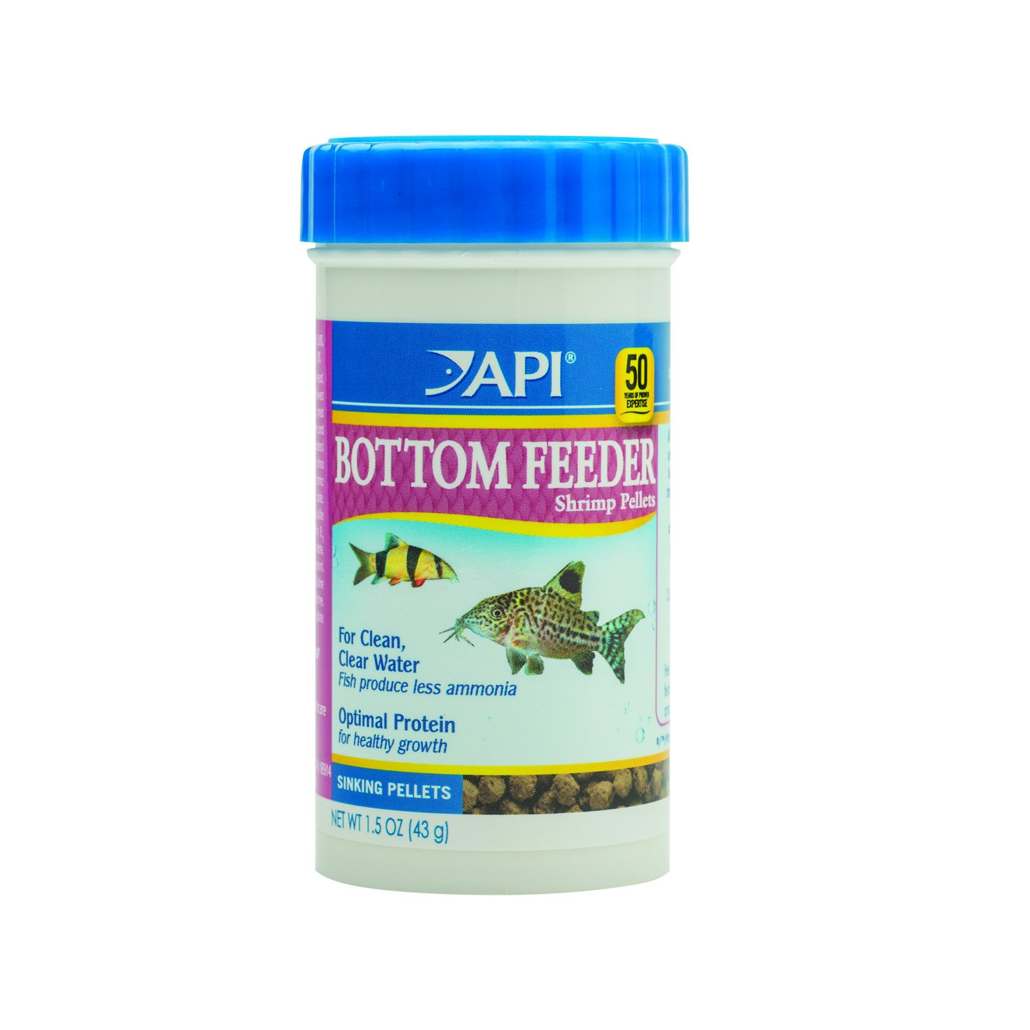API Bottom Feeder Shrimp Pellets Fish Food 7.9 oz Container API Fishcare 841C