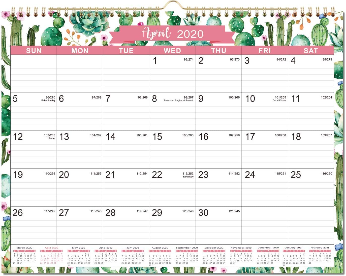 "2020 Calendar - 2020 Monthly Wall Calendar with Julian Dates, 11.5"" x 15"", Two-Wire Binding, Ruled Blocks Perfect for Planning and Organizing for Home or Office"