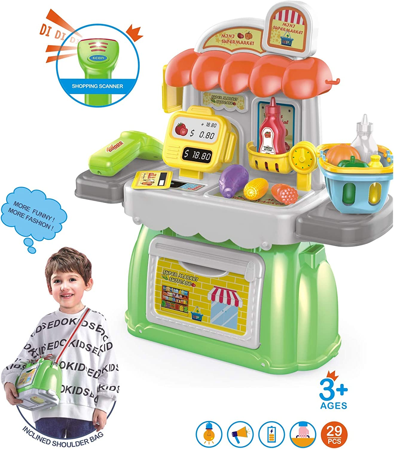 Cash Register Pretend Play Supermarket Shop Toys with Calculator, Working Scanner,credit Card ,play Food, Toy Backpack 2 in 1, Portable Toy Storage Box, Role Play Educational Toy Gift for Girls & Boys