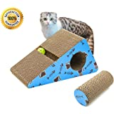 LIVING EXPRESS Multi-activity Kitty/ Cat Scratching Post /Pad with Catnip, Sturdy Recycled Materials Scratcher, Free Toy