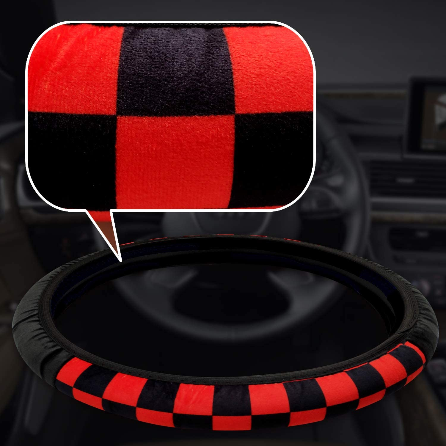 Sport Style Furry Steering Wheel Cover,Universal 15 inch Steering Wheel,Warm in Winter,with Nice Package