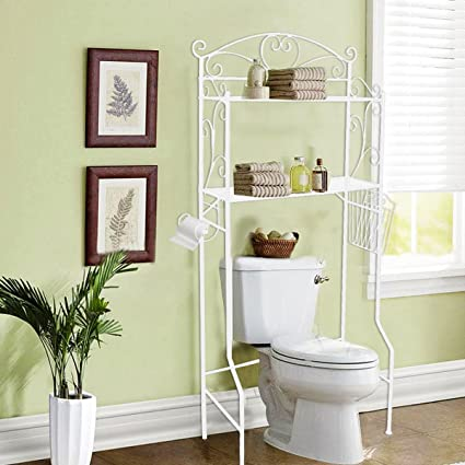 VDOMUS Bathroom Space Saver Storage Over The Toilet Wire Shelf Shelves,  White