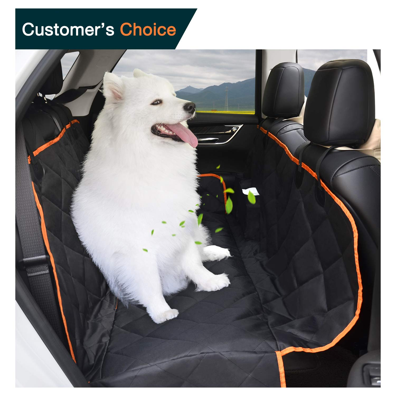IEOKE Dog Car Seat Covers, Dog Seat Cover Waterproof & Scratch Proof & Nonslip With Adjustable Seat Anchors, Pet Car Seat cover fit for family cars, Trucks, and Suv-145 x 135 cm(Black)