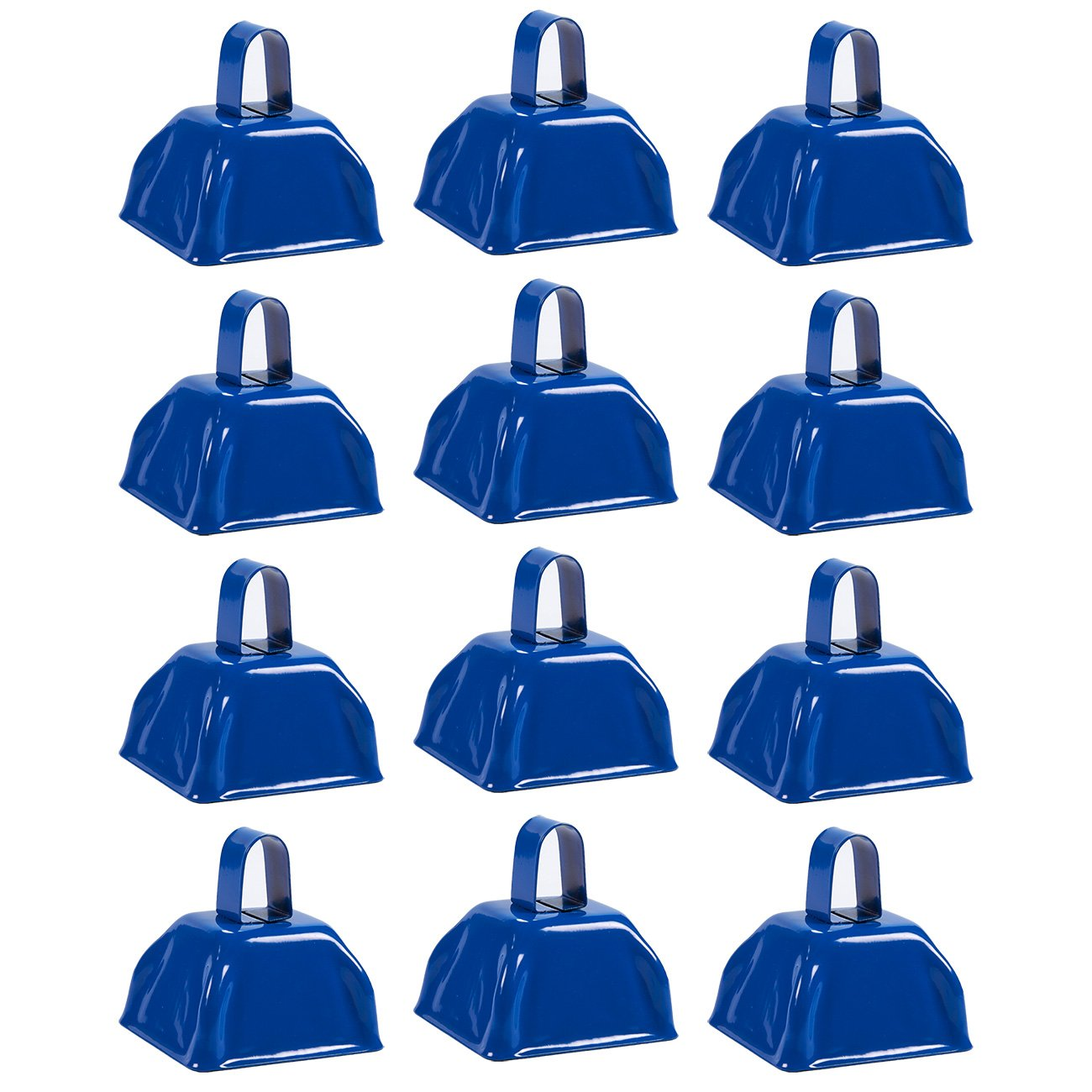 Cow Bell Set - 12-Count Loud Bells with Handles, Cowbells, Noisemaker Call Bells for Football Games, Weddings, Classroom Use, Blue - 3 x 2.8 x 2.49 inches by Blue Panda