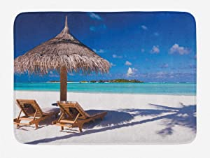 Ambesonne Landscape Bath Mat, Island Caribbean Honeymoon Themed Beach Seashore Ocean Print, Plush Bathroom Decor Mat with Non Slip Backing, 29.5