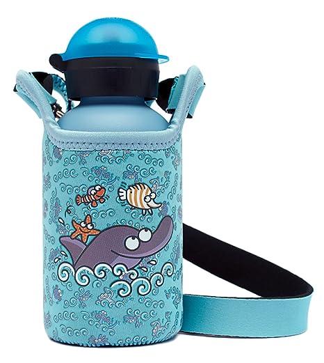 Kukuxumusu Botella Infantil Térmica 0,35L Azul de Acero Inoxidable Tapón HIT con Funda de Neopreno