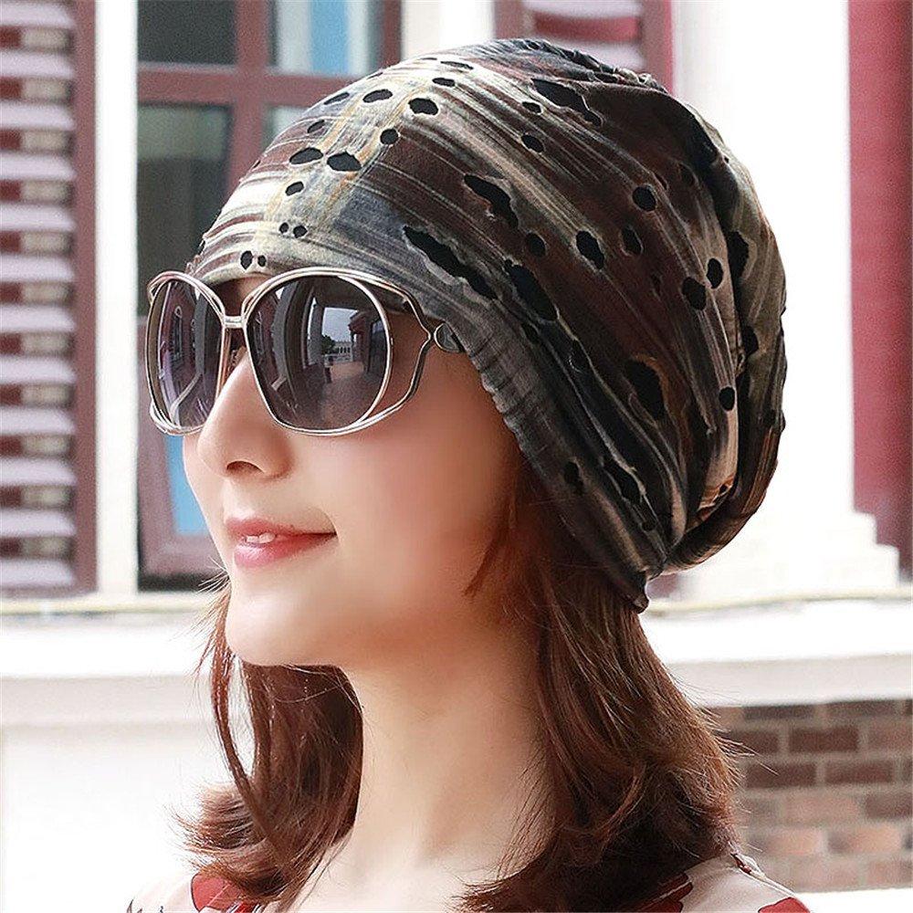Foro Unisex distressed turbante Hat Lady Baotou testa palo cappuccio del cappuccio del mese maschio donne incinte per circonferenza testa 54-60cm elastici di aria condizionata,F (54-60cm elastico),Deep color cachi
