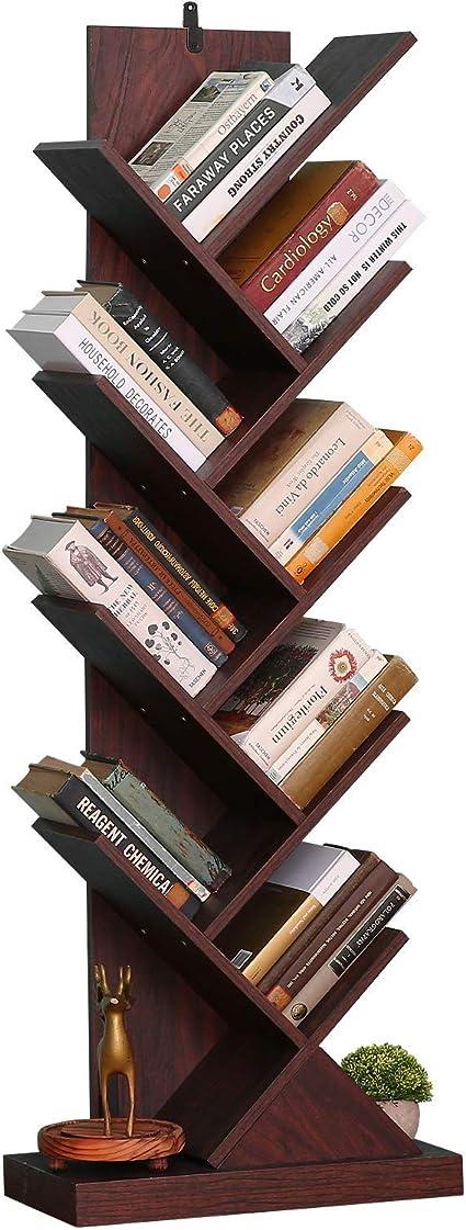 Estantería de árbol, estantería de madera, estantería de pie de árbol en la sala de estar en casa, oficina, estante organizador para libros, revistas, ...