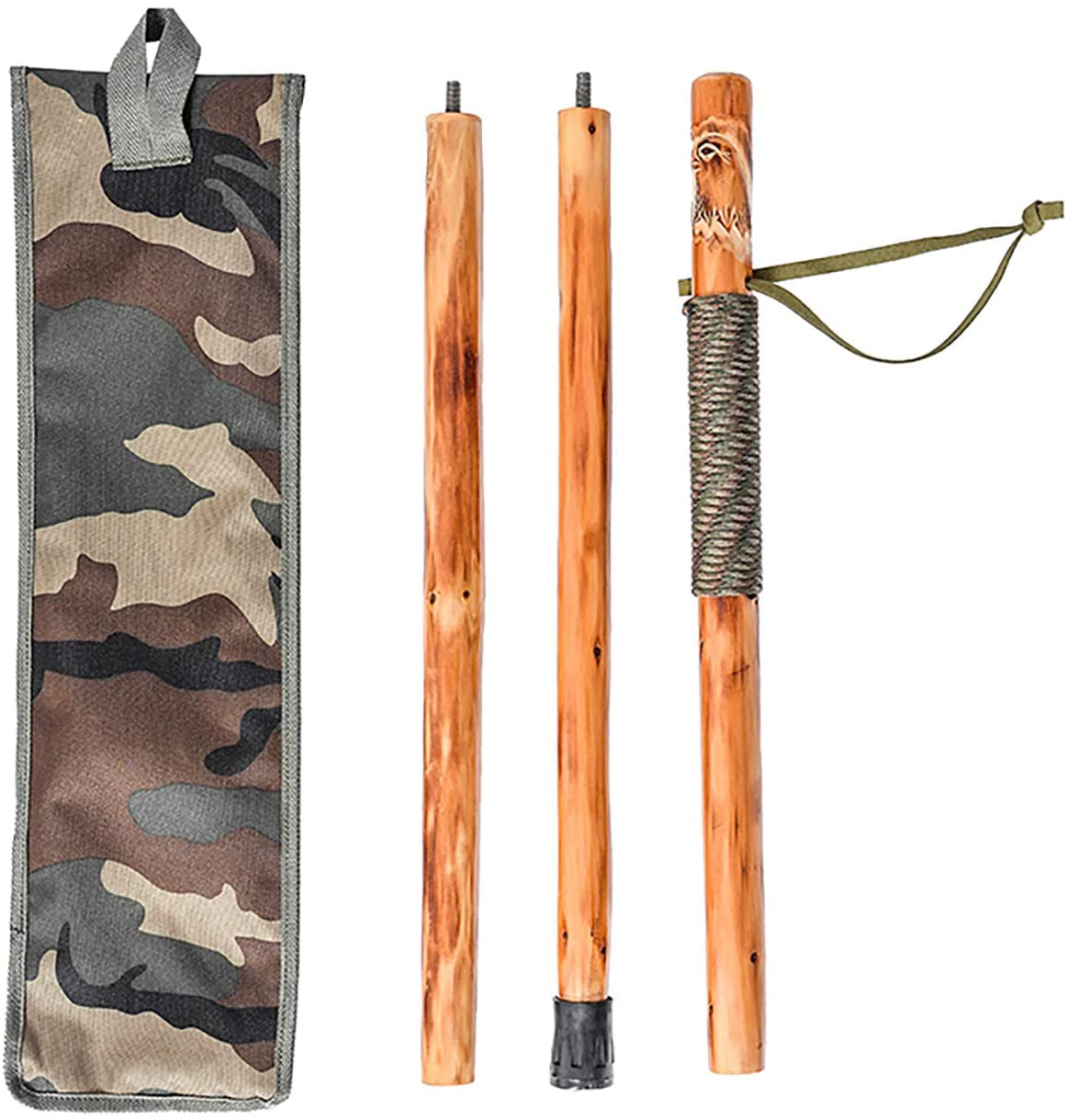 FOREST PILOT 3 Piece Wooden Walking Stick Eagle Carving (Nature Color, 55 Inches, 1 Piece)