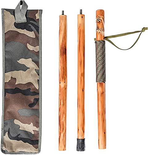 FOREST PILOT 3 Piece Wooden Walking Stick Eagle Carving Nature Color, 55 Inches, 1 Piece