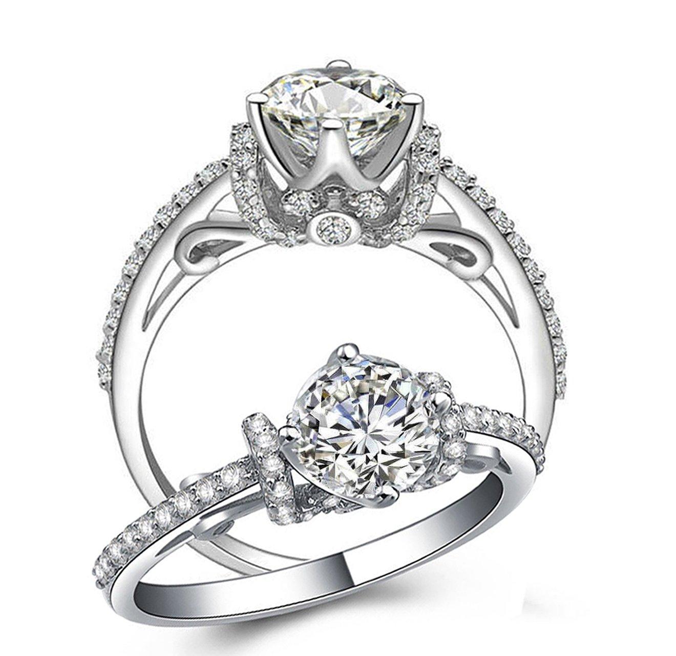 SCALOP8 SOLID 925 SILVER TOP QUALITY 1 CARAT DESIGNER ART DECOR SIMULATED DIAMOND RING HEARTS ARROWS CUT