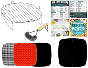 Air Fryer Accessories Kit Compatible With Dash 10 Liter, Power Airfryer Oven, Secura, NuWave Brio 3 QT, Philips, Emeril Lagasse, Bagotte, Costzon, Enklov +More | Silicone Liner, Grill Brush, Cookbooks
