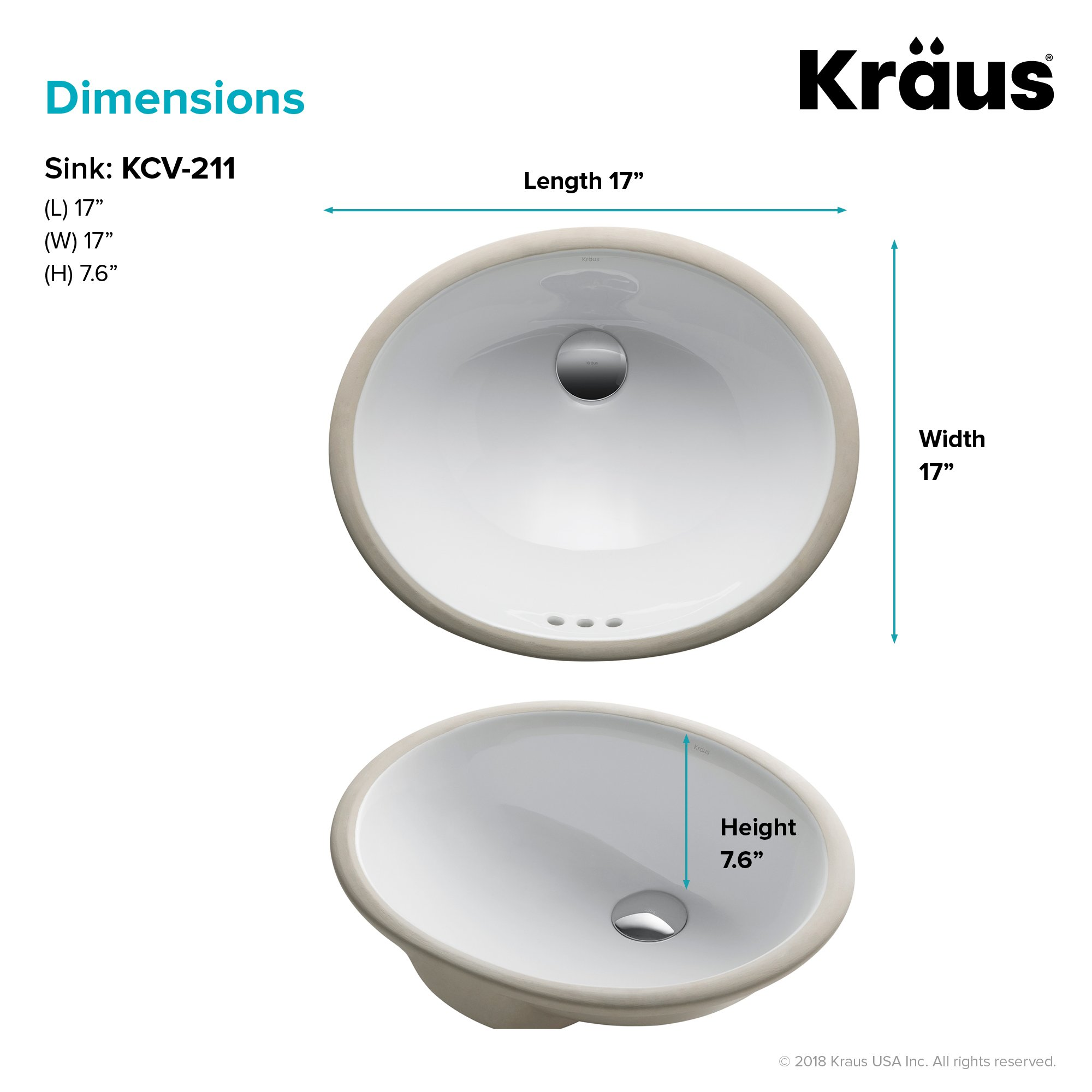 KRAUS Elavo 17 Inch Oval Undermount Porcelain Ceramic Bathroom Sink in White with Overflow, KCU-211 by Kraus (Image #5)