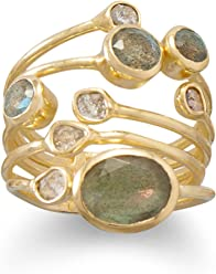 14K Gold Plated Sterling Stacked Ring, Sizes 6-10, Polki Diamonds and Labradorite