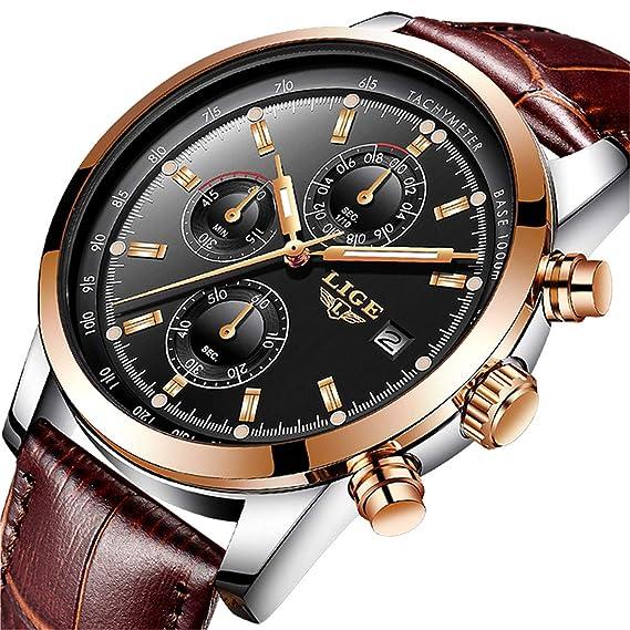 d806eccf2b31 Relojes Hombre LIGE Moda Cronógrafo Deportivo Analógico Cuarzo Reloj Hombre  Lujo Impermeable Cuero Marrón Reloje de Hombre  Amazon.es  Relojes