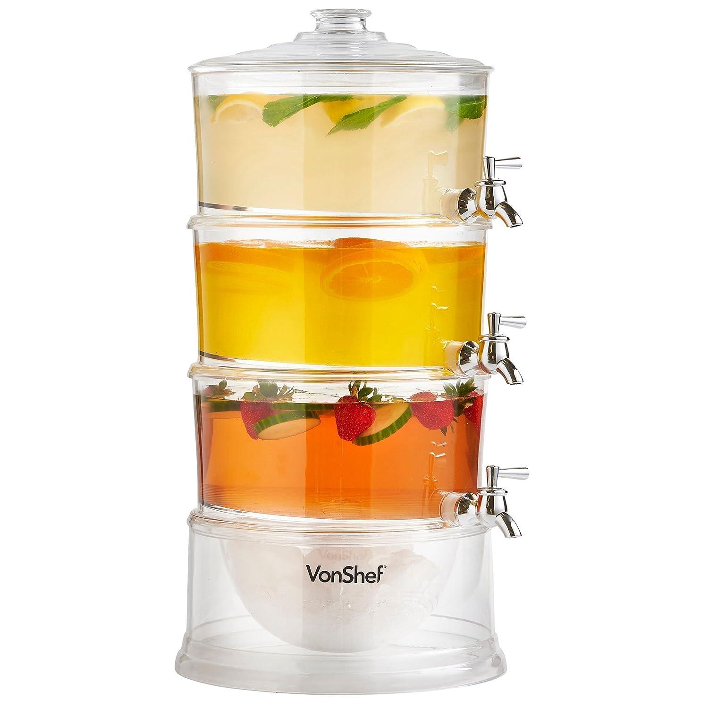 NEW VonShef 3 Tier Party Drinks Dispenser with Taps & Ice Compartment 10.5L: Amazon.es: Hogar