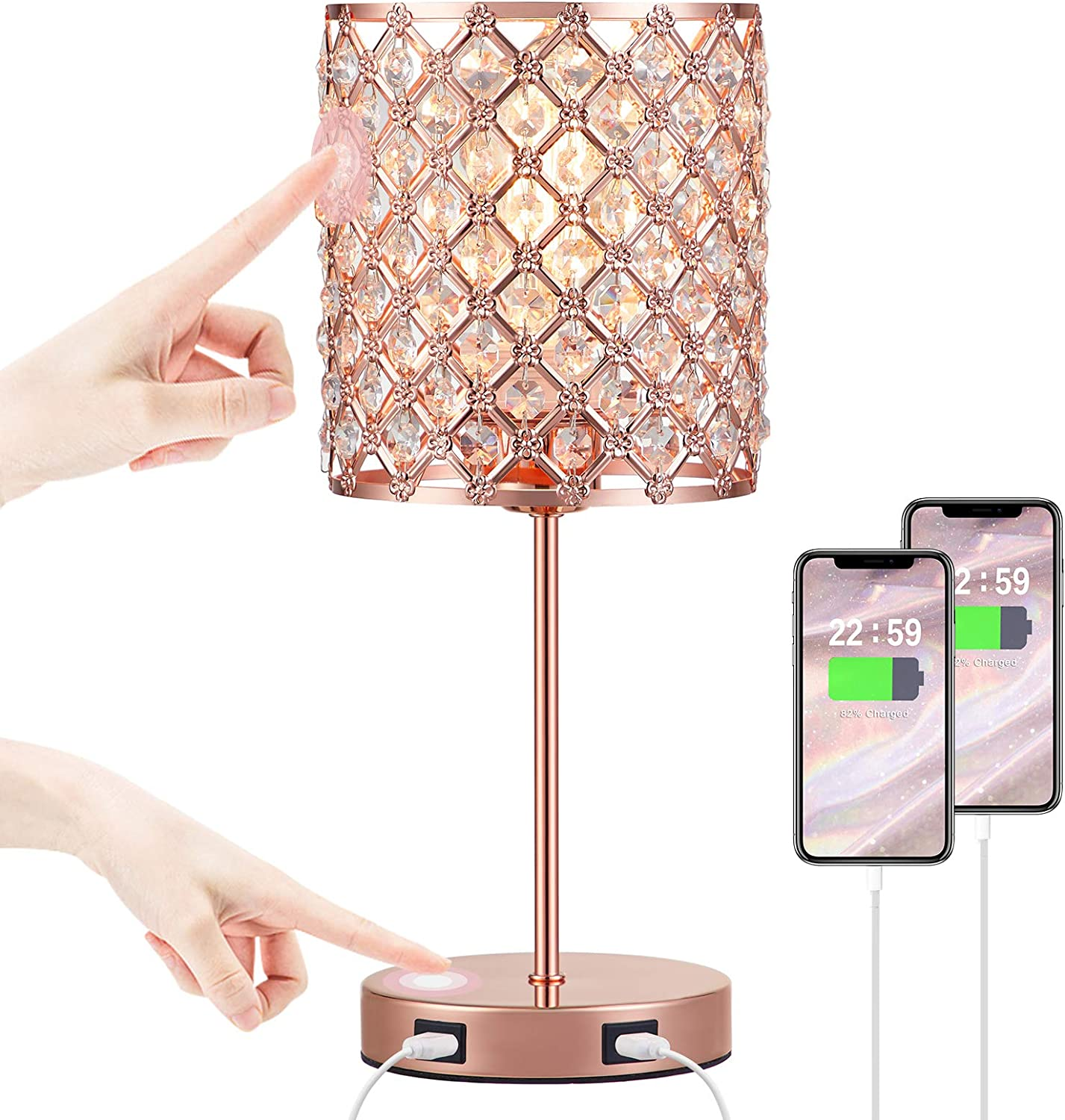 Crystal Table Lamp Touch Control, Small Rose Gold Lamp with 2 USB Ports, 3 Way Dimmable Touch Crystal Lamp for Living Room, Pink Nightstand Lamp for Grils Bedroom Decor, Dining Room(Bulb Included)