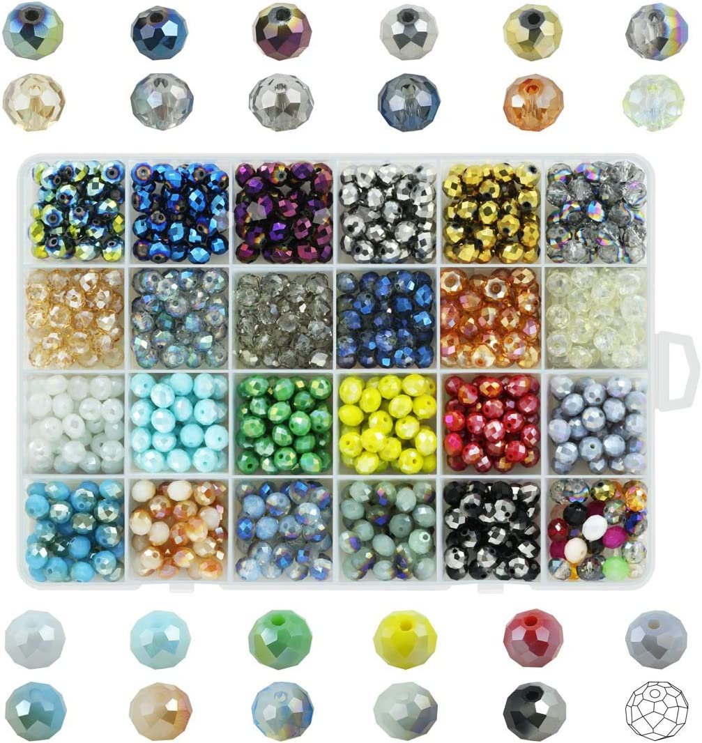 70 Faceted Rondelle Crystal Glass Beads  8mm Loose beads Jewellery making arts
