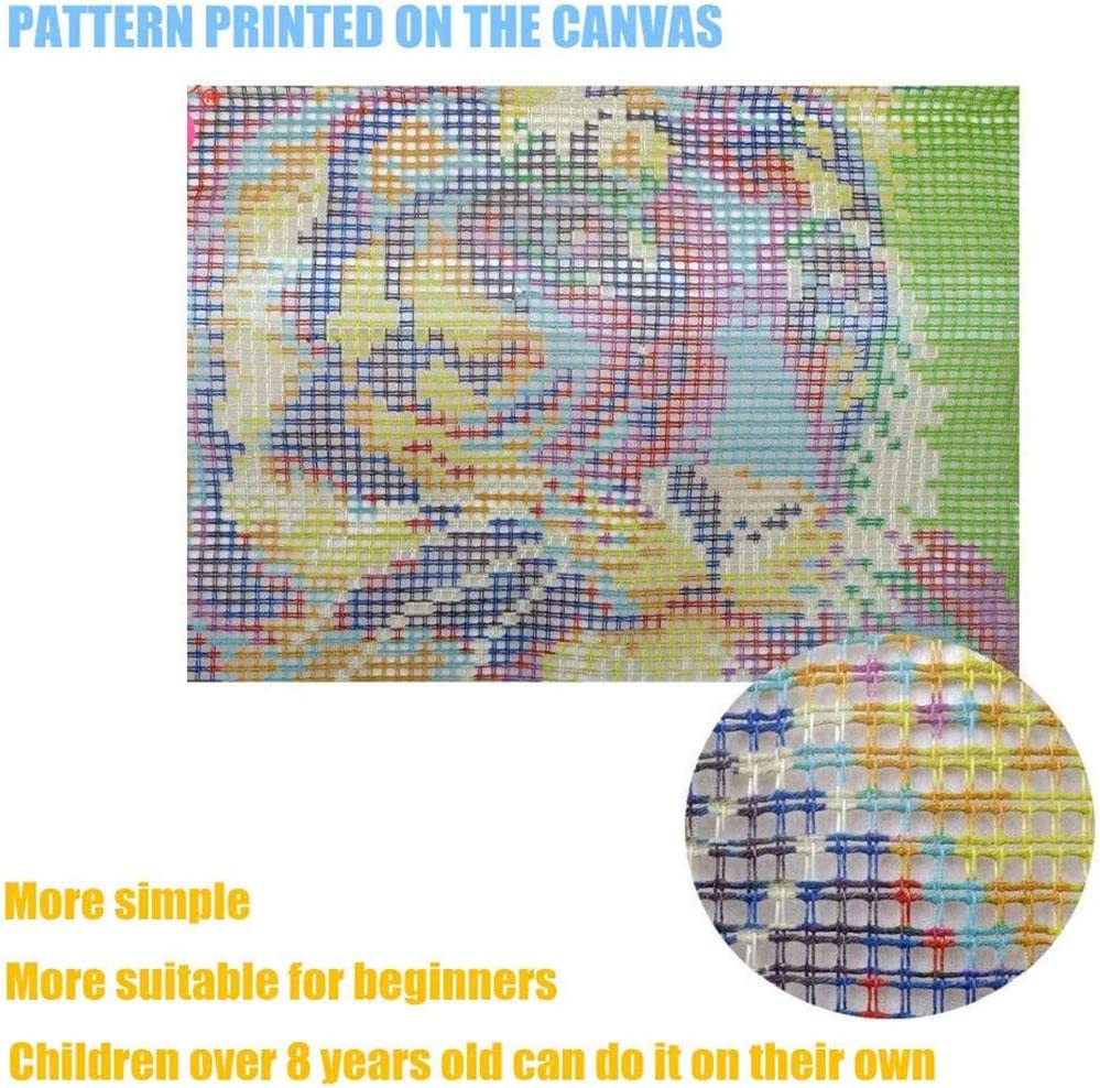 Emistem Latch Hook Kits Rug Making Kits DIY for Kids//Adults with Printed Canvas Pattern 21 X 21 Butterfly Flowers