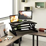 "40"" White Mobile Ergonomic Stand Up Desk Computer Workstation with Keyboard Tray (Black Riser)"