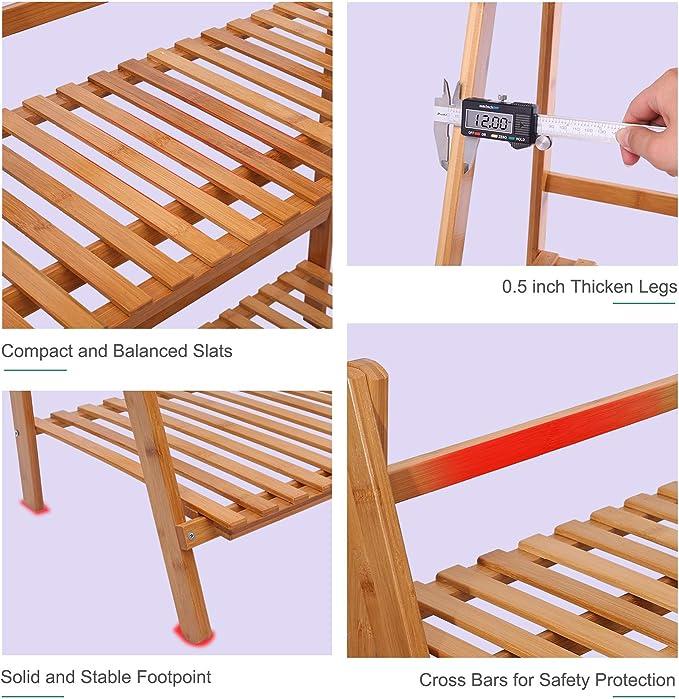 ufine bambú madera Escalera estantería para plantas de 3 niveles ...
