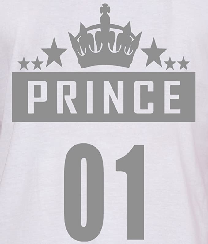 American Elm White Prince And Princess Couples Printed Slim Fit T
