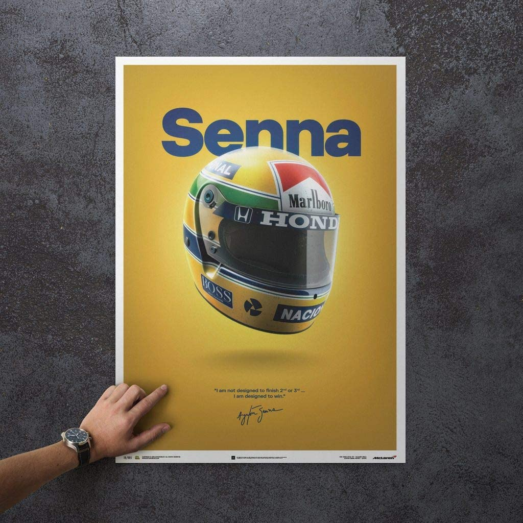 Ayrton Senna Senna Standard Poster Size 19 /¾ x 27 /½ Inch Automobilist McLaren MP4//4 Unique Design Poster