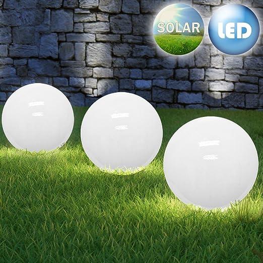 3 x Solar Bola Lámpara Solar Jardín Lámpara LED solar bola lámpara de jardín Lámpara decorativa Ø30 cm cálido blanco: Amazon.es: Iluminación
