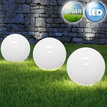 LED Solarkugel Solarleuchte Solarlampe Leuchtkugel - opalweiß - Ø ...