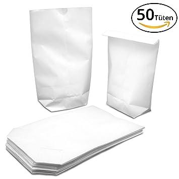 50/100 blancas pequeñas de bolsas de papel de estraza (14 x 19 cm
