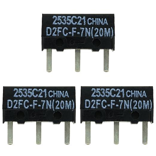 2x OMRON D2FC-F-7N (20M) Kit de Reparación de Microinterruptor / Kit de Reparación apropiado para mouse de computadora de Logitech, Razer, Roccat, ...