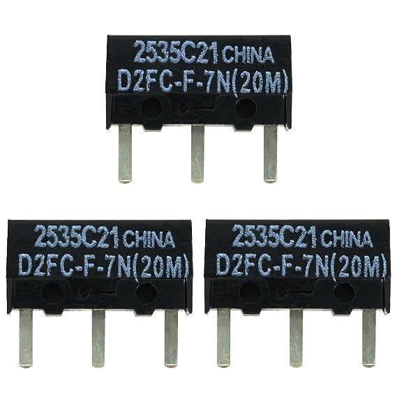 3x OMRON D2FC-F-7N (20M) Kit de Reparación de Microinterruptor / Kit de Reparación apropiado para mouse de computadora de Logitech, Razer, Roccat, ...
