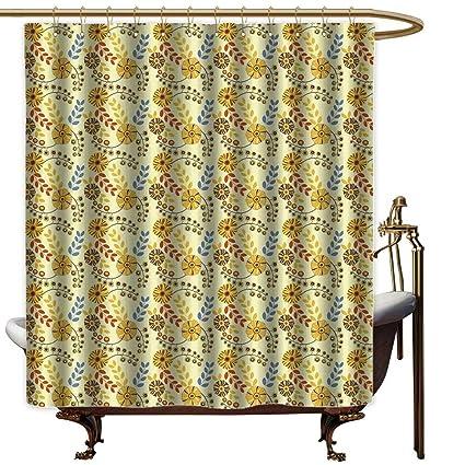 Aotuma White Shower Curtain YellowOld Fashioned Abstract Flowers Nostalgia Vintage Design Gardening Plants Foliage