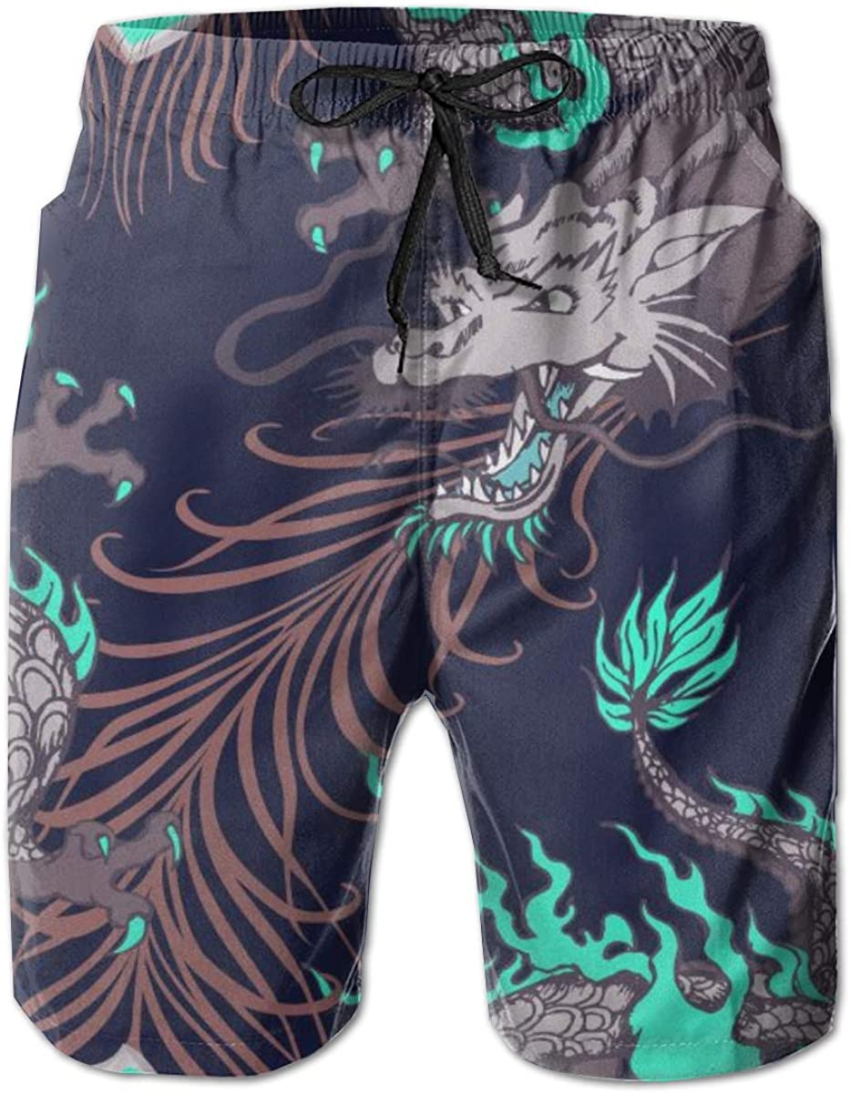 Dragon and Peacock Feather Beach Board Shorts 3D Printed