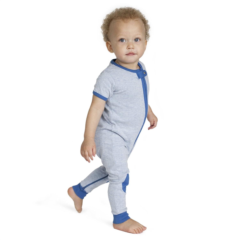 baby deedee Short Sleeve 1 Piece Footless Romper Pajama, Mocha Heather, 3-6 Months 5017